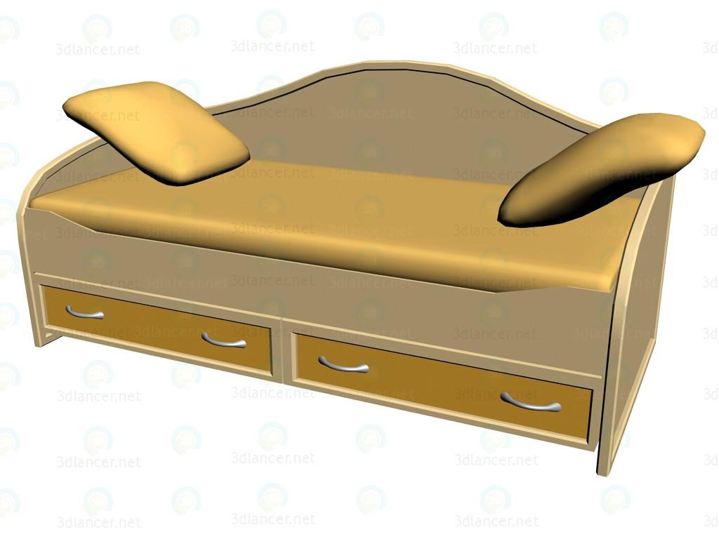 3D Modell Kinderbett mit Schubladen 90 x 200 - Vorschau