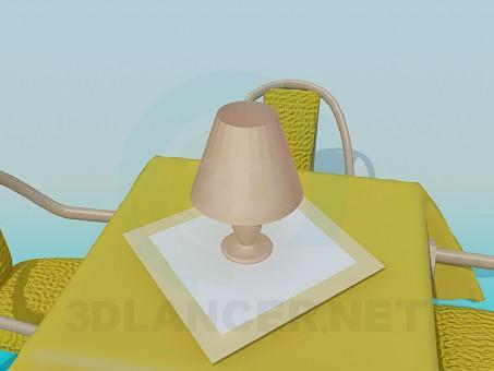 descarga gratuita de 3D modelado modelo Mesa con sillas en el restaurante