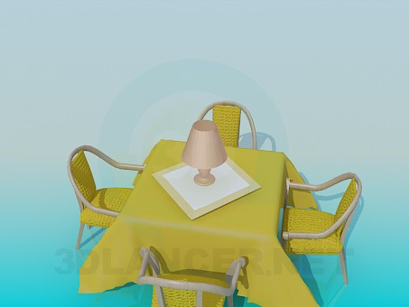 3d model Table with chairs in the restaurant - preview