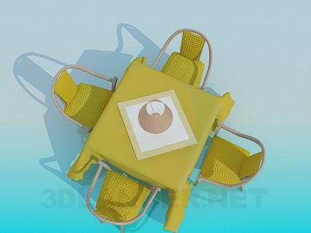 3d модель Столик с торшером и стульями в ресторане – превью