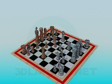 3d моделювання Шахова дошка з фігурами модель завантажити безкоштовно