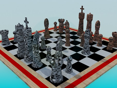 3d model Checkerboard with shapes - preview