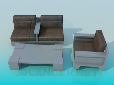 3d model Sofa with table - preview