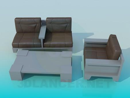 modelo 3D Sofá con mesa - escuchar