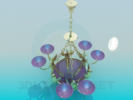 3d model Chandelier with golden chains - preview