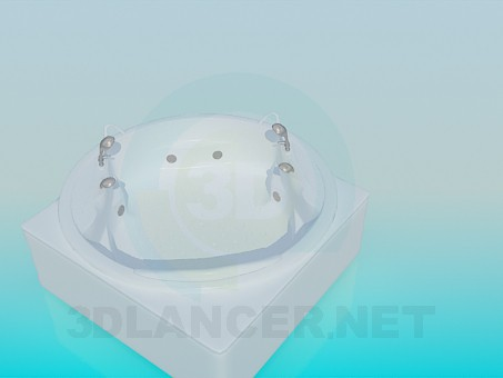 3d model Round jacuzzi bath for two - preview