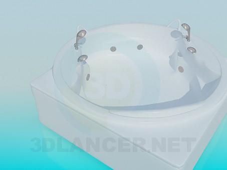 modelo 3D Bañera de hidromasaje redonda para dos - escuchar