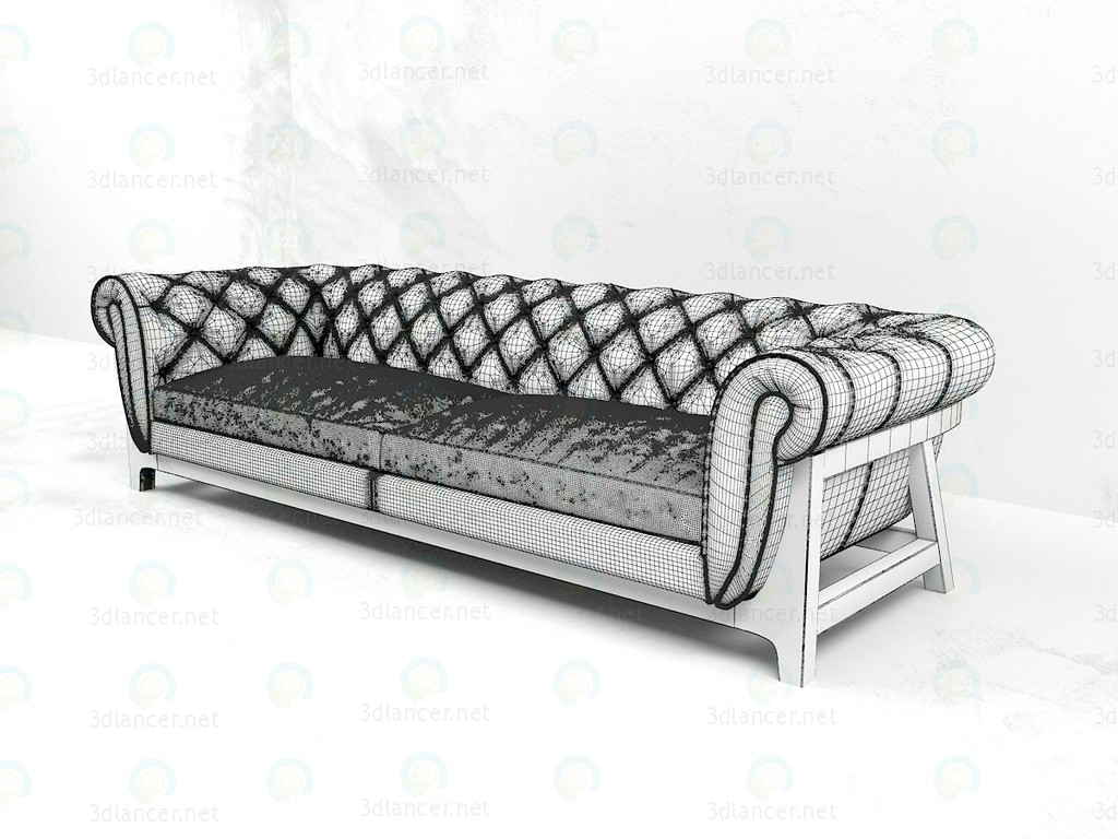 3d Cocoon Chesterfield Sofa 4 Seater Bleu Nature model buy - render