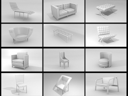 A set of 3D-models of furniture