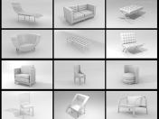 A set of 3D-models of furniture
