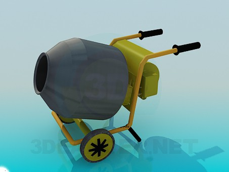 3d model Concrete mixer on the trolley - preview
