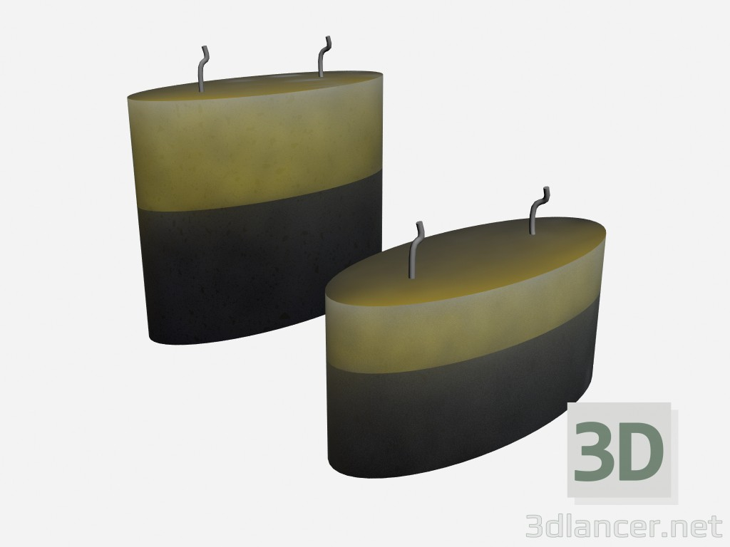 3d model Scented candles in art deco candle Parfume media - preview