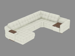Modular leather sofa with coffee table