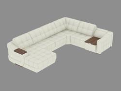 Divano in pelle modulare con tavolino