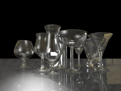 A set of wine glasses.