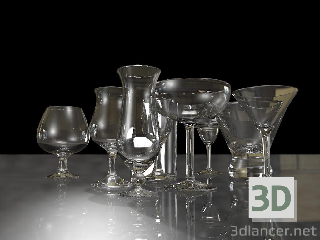Modelo 3d Um conjunto de copos de vinho. - preview