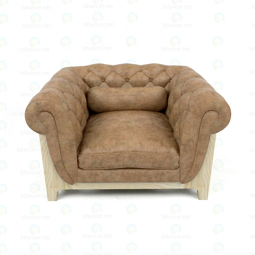3d Armchair Cocoon Chesterfield BLEU nature model buy - render