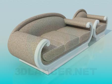 descarga gratuita de 3D modelado modelo Sofá con silla
