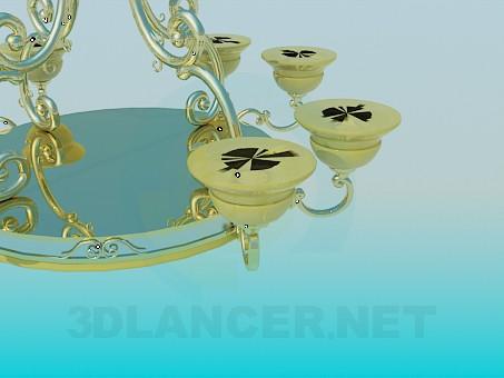 3d модель Золотистая люстра – превью