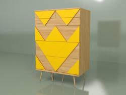 Chest of drawers Big Woo (mustard yellow, light veneer)