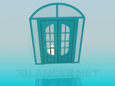 3d модель Подвійні двері зі скляними вставками – превью