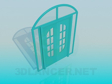 3d model Double door with glass inserts - preview