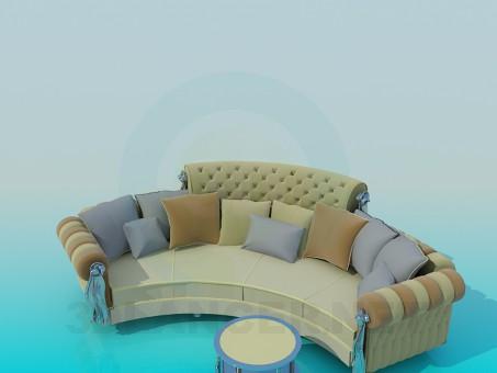 3d modeling Semi-circular sofa model free download