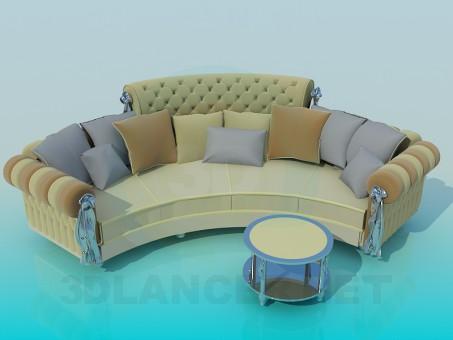3d model Semi-circular sofa - preview