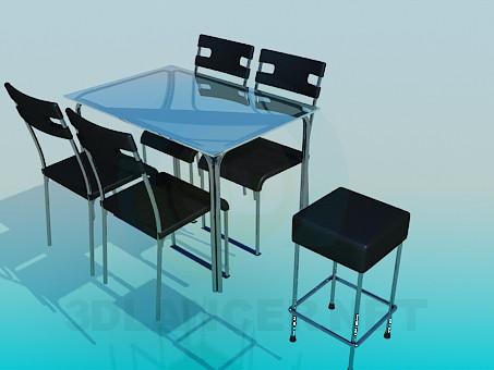 3d модель Стол со стульями для кафе – превью