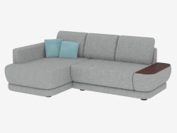 Corner sofa for three persons with bed