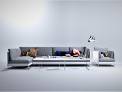 Sofa-Chair # 0346 (Sofa L-shaped & Chair & Glass Table)