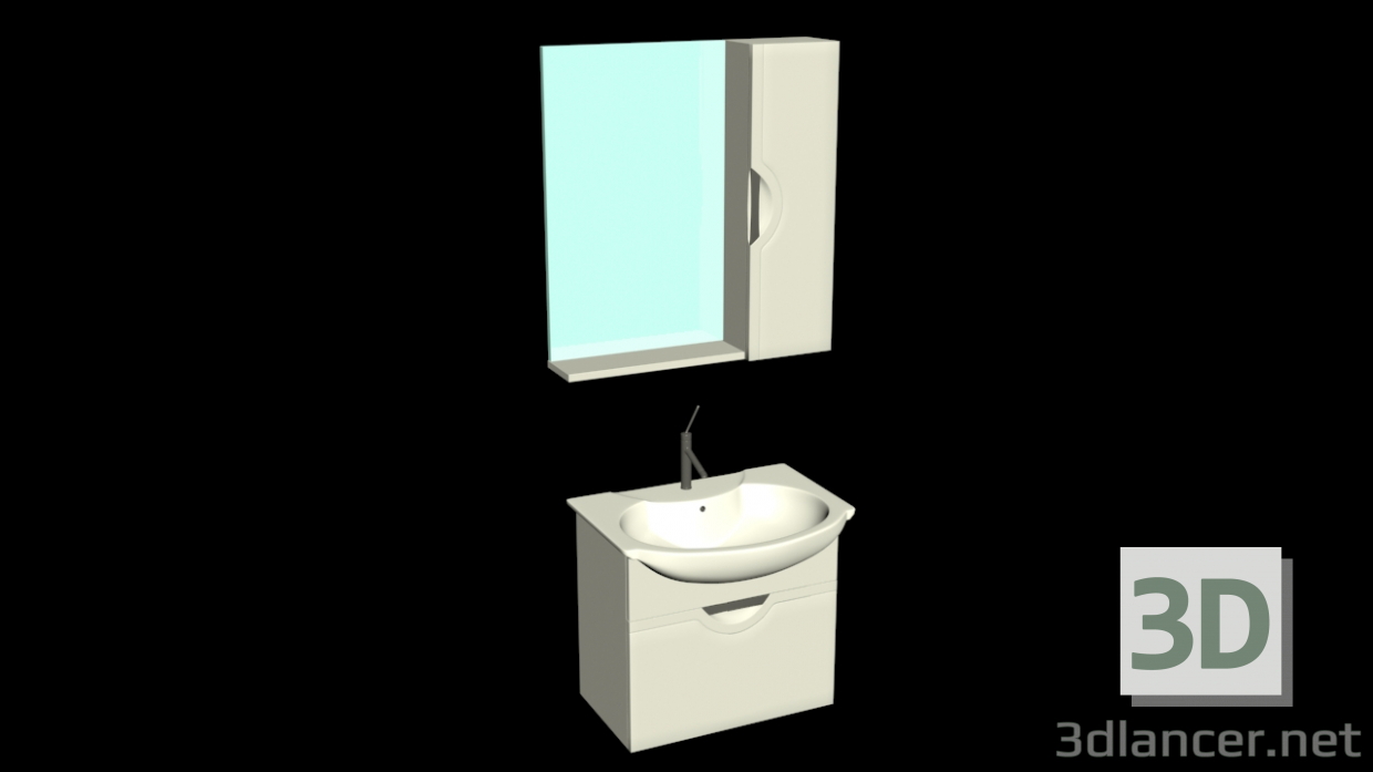 3d model Washbasin with cabinet and mirror - preview