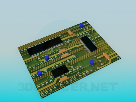 modelo 3D Placa de circuito - escuchar