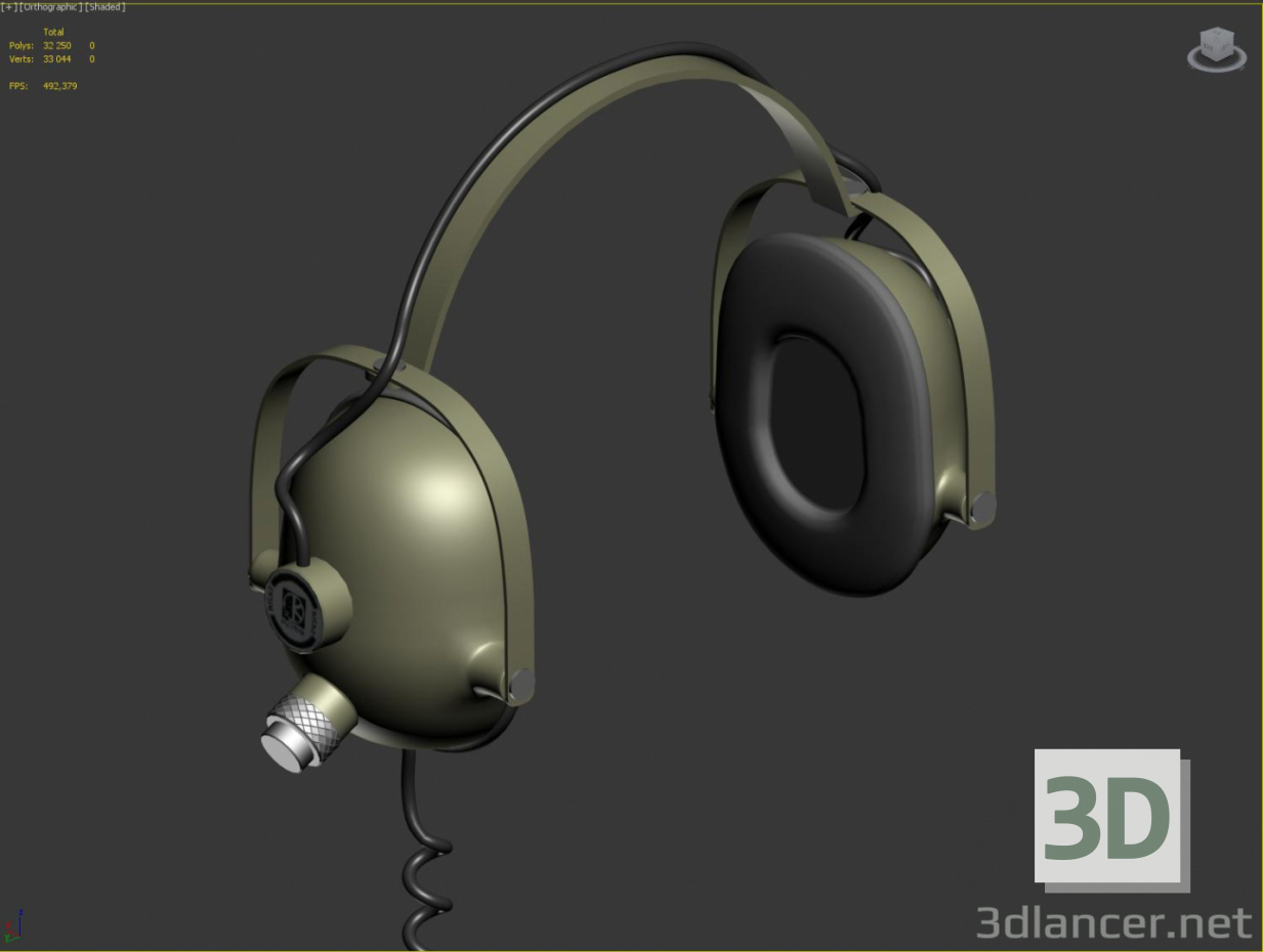 3d model Earphones retro - preview