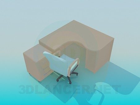 3d model Computer desk with chair - preview