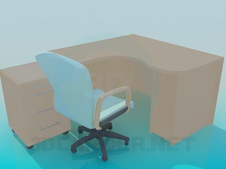 3d модель Стол для компьютера со стулом – превью