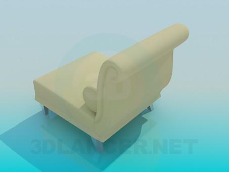 modelo 3D Sofá con una almohada - escuchar