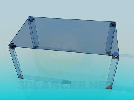 3d model Glass coffee table with glass legs - preview