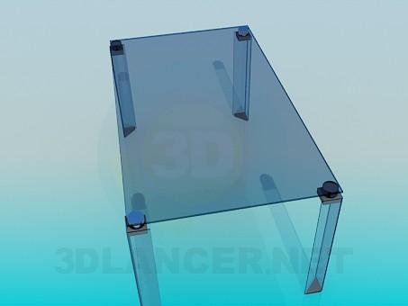 modelo 3D Mesa de centro de vidrio con patas de cristal - escuchar