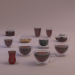 3d Glass cups and teapots model buy - render