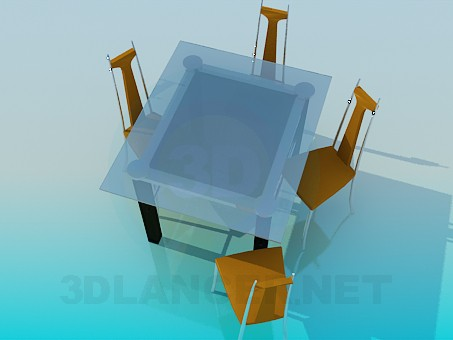 3d model Table with chairs in the art nouveau style - preview