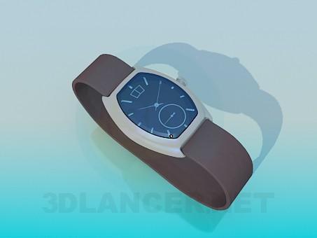 3d модель Чоловічі наручні годинники з шкіряним ремінцем – превью