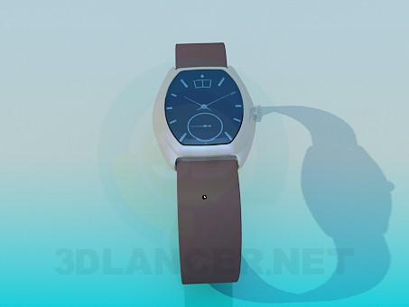 3d model Men's wrist watch with leather strap - preview