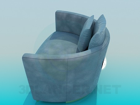3d model A chair with pillows - preview