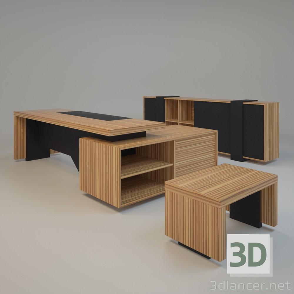 3d модель Мебель в кабинет – превью