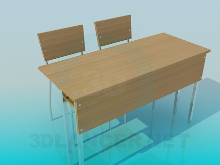 3d modeling A desk with chairs model free download