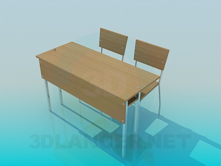 3d model A desk with chairs - preview