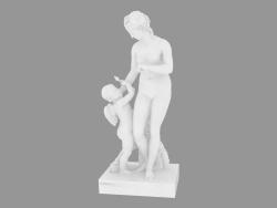Scultura in marmo Venere infermiera Cupido
