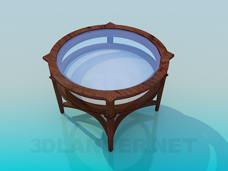 3d model Round table with glass tabletop - preview