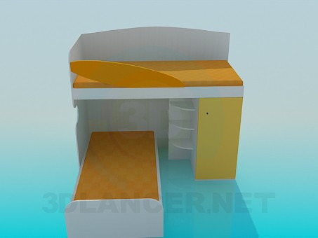 3d modeling Double bed in a child's bedroom model free download